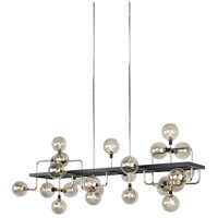 Viaggio LED 56 inch Black and Polished Nickel Linear Suspension Ceiling Light in Smoke