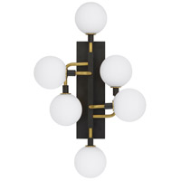Viaggio LED 9 inch Black and Brass Wall Light in Opal