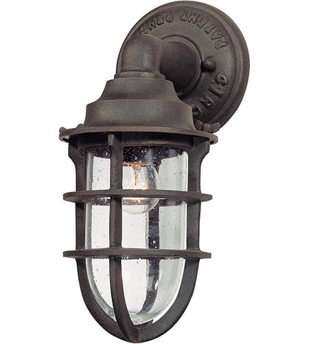 12 Inch Nautical Rust Outdoor Wall Lantern, Outdoor Nautical Lights