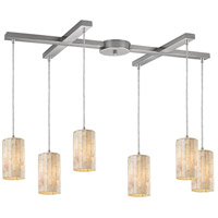 Truly Coastal 30702-SN White Beach 6 Light 17 inch Satin Nickel Mini Pendant Ceiling Light in Incandescent Light Bar H-Bar