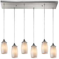 TrulyCoastal 30047-SNOS Mooring 6 Light 9 inch Satin Nickel Mini Pendant Ceiling Light in Incandescent Rectangular Canopy Rectangular