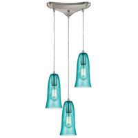 Truly Coastal 30982-SNHA Cilician Sea 3 Light 10 inch Satin Nickel Mini Pendant Ceiling Light in Hammered Aqua Glass Triangular Canopy Triangular
