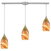 Truly Coastal 30871-SNLS Cabarete 3 Light 38 inch Satin Nickel Mini Pendant Ceiling Light in Linear with Recessed Adapter Linear