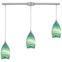 Truly Coastal 30877-SNAS Cabarete 3 Light 38 inch Satin Nickel Mini Pendant Ceiling Light in Linear with Recessed Adapter Linear