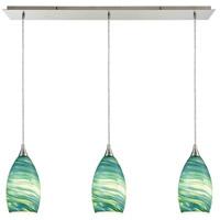 Truly Coastal 30878-SNAS Cabarete 3 Light 36 inch Satin Nickel Mini Pendant Ceiling Light in Linear Linear