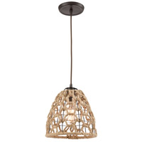 Truly Coastal 30881-ORI St. Marys 1 Light 9 inch Oil Rubbed Bronze with Rope Mini Pendant Ceiling Light in Standard