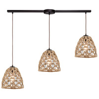 Truly Coastal 30883-ORI St. Marys 3 Light 36 inch Oil Rubbed Bronze with Rope Pendant Ceiling Light in Linear with Recessed Adapter