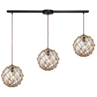 Truly Coastal 30893-ORHR St. Marys 3 Light 38 inch Oil Rubbed Bronze Mini Pendant Ceiling Light in Linear with Recessed Adapter Linear