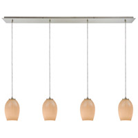 Truly Coastal 30059-SNPB Copacabana 4 Light 46 inch Satin Nickel Mini Pendant Ceiling Light in Linear Linear