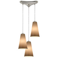 Truly Coastal 30062-SNPB Isle 3 Light 12 inch Satin Nickel Mini Pendant Ceiling Light in Triangular Canopy Triangular