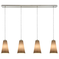 Truly Coastal 30065-SNPB Isle 4 Light 46 inch Satin Nickel Mini Pendant Ceiling Light in Linear Linear