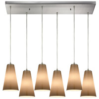 Truly Coastal 30066-SNPB Isle 6 Light 32 inch Satin Nickel Mini Pendant Ceiling Light in Rectangular Canopy Rectangular
