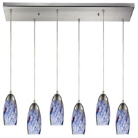 Truly Coastal 31018-SNSB Castle 6 Light 9 inch Satin Nickel Mini Pendant Ceiling Light in Starburst Blue Glass Incandescent Rectangular Canopy