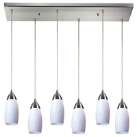Truly Coastal 31021-SNSW Castle 6 Light 9 inch Satin Nickel Mini Pendant Ceiling Light in Simply White Glass Incandescent Rectangular Canopy