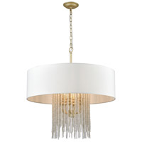 Truly Coastal 30364-AS Machias Bay 6 Light 28 inch Antique Silver with Crystal Pendant Ceiling Light