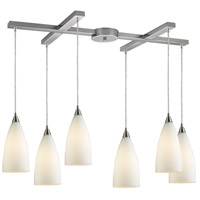 TrulyCoastal 31126-SNW Shearwater 6 Light 17 inch Satin Nickel Mini Pendant Ceiling Light in Incandescent Light Bar H-Bar