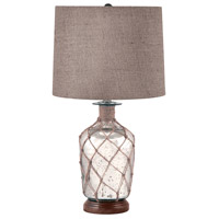 Truly Coastal 32350-MG Bay of Bengal 24 inch 1 watt Mercury Glass Table Lamp Portable Light in Incandescent Jute-Wrapped