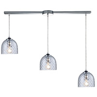 TrulyCoastal 31142-PCC Boundary Bay 3 Light 7 inch Polished Chrome Mini Pendant Ceiling Light in Satin Nickel, Clear, Linear with Recessed Adapter, Linear
