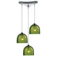 TrulyCoastal 31141-PCG Boundary Bay 3 Light 10 inch Polished Chrome Mini Pendant Ceiling Light in Satin Nickel Green Glass Triangular Canopy