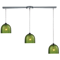 TrulyCoastal 31143-PCG Boundary Bay 3 Light 7 inch Polished Chrome Mini Pendant Ceiling Light in Satin Nickel Green Glass Linear with Recessed