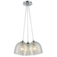 TrulyCoastal 31144-PCC Boundary Bay 3 Light 15 inch Polished Chrome Mini Pendant Ceiling Light in Clear Round Canopy Linear