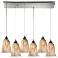 Truly Coastal 30073-SNMA Aqua 6 Light 9 inch Satin Nickel Mini Pendant Ceiling Light in Incandescent Rectangular Canopy Rectangular
