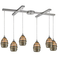 TrulyCoastal 30079-SNT Bay of Campeche 6 Light 17 inch Satin Nickel Mini Pendant Ceiling Light in Incandescent Light Bar H-Bar