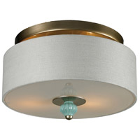Truly Coastal 31193-AS Escambia Bay 2 Light 14 inch Aged Silver with Seafoam Semi Flush Mount Ceiling Light