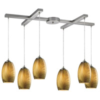 TrulyCoastal 31220-SNA Corsica 6 Light 17 inch Satin Nickel Mini Pendant Ceiling Light in Light Bar H-Bar