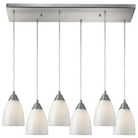 TrulyCoastal 31291-SNWS Key West 6 Light 9 inch Satin Nickel Mini Pendant Ceiling Light in White Swirl Glass Incandescent Rectangular Canopy