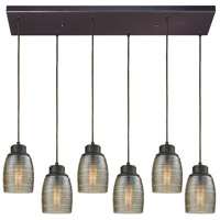 Truly Coastal 31297-ORCS Lakeshore 6 Light 30 inch Oil Rubbed Bronze Mini Pendant Ceiling Light in Rectangular Canopy Rectangular