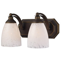 Truly Coastal 31354-ABSW Sea of Azov 2 Light 14 inch Aged Bronze Vanity Light Wall Light in Snow White Glass Incandescent