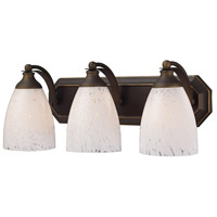 Truly Coastal 31402-ABSW Sea of Azov 3 Light 20 inch Aged Bronze Vanity Light Wall Light in Snow White Glass Incandescent