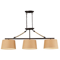 TrulyCoastal 31595-AB Hanalei Bay 3 Light 54 inch Aged Bronze Island Light Ceiling Light in Incandescent