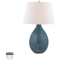 Truly Coastal 30003-BML Westport 32 inch 60 watt Blue Mosaic Table Lamp Portable Light in Dimmer Hue LED Philips Friends of Hue