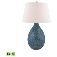 Truly Coastal 30042-BML Westport 32 inch 9.5 watt Blue Mosaic Table Lamp Portable Light in LED 3-Way