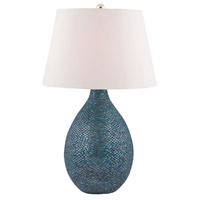 Truly Coastal 30536-BM Westport 32 inch 150 watt Blue Mosaic Table Lamp Portable Light in Incandescent 3-Way