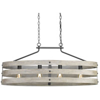 TrulyCoastal 30309-GI Camps Bay 4 Light 39 inch Graphite Linear Chandelier Ceiling Light