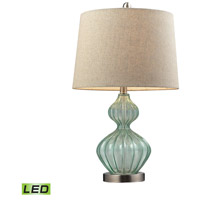 Truly Coastal 30194-LGL Bethany 25 inch 9.5 watt Light Green Smoke Table Lamp Portable Light in LED