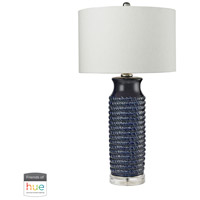 Truly Coastal 30019-CBL Lunenburg 30 inch 60 watt Clear/Navy Blue Table Lamp Portable Light in Hue LED Bridge Philips Friends of Hue
