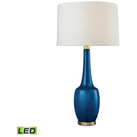 Truly Coastal 30519-ABL West Bay Beach 36 inch 9.5 watt Antique Brass/Navy Blue Table Lamp Portable Light in LED 3-Way