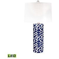 Truly Coastal 30196-NBL Reine 28 inch 9.5 watt Navy Blue and White Table Lamp Portable Light in LED