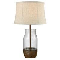 Truly Coastal 30568-CS Vilanculos Beach 28 inch 100 watt Clear/Wood Stain Outdoor Table Lamp