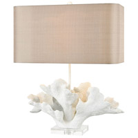 TrulyCoastal 30037-MWC Striped Marlin 27 inch 150 watt Matte White/Clear Crystal Table Lamp Portable Light