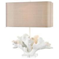 Truly Coastal 30037-MWC Striped Marlin 27 inch 150 watt Matte White/Clear Crystal Table Lamp Portable Light