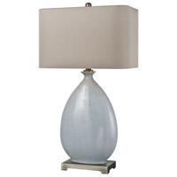 TrulyCoastal 30488-LB Benidorm 32 inch 150 watt Light Blue Crackle Ceramic/Pewter Table Lamp Portable Light