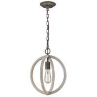 Truly Coastal 32351-GRL Wales LED 12 inch Grey Rope with Grey Brown Rust Pendant Ceiling Light