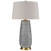 Truly Coastal 30640-HB Salvage 30 inch 150 watt Horizon Blue Dot with Brushed Gold Table Lamp Portable Light