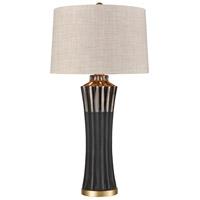 Truly Coastal 30642-MB La Grande 32 inch 150 watt Matte Black with Brushed Brass Table Lamp Portable Light