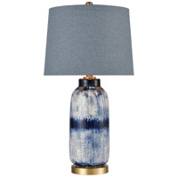 TrulyCoastal 30483-DB Bay 27 inch 150 watt Dark Blue Glaze/Matte Brushed Gold Table Lamp Portable Light